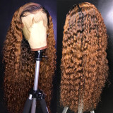 Colored Ombre Curly Human Hair Lace Front Wig