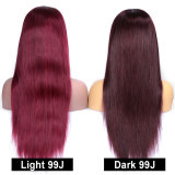 ReadyWig Burgundy Red Straight Human Hair Lace Front Wig - Customized