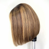 ReadyWig Ombre Color Short Straight Human Hair Lace Front Wig 14 Inches - Customized