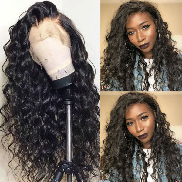 ReadyWig Black Loose Wave Pre-plucked Human Hair Lace Front Wig - Customized