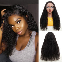 ReadyWig Black Kinky Curly Human Hair Lace Front Wig - Customized