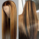 Highlight Color Deep Part Lace Front Human Hair Wig