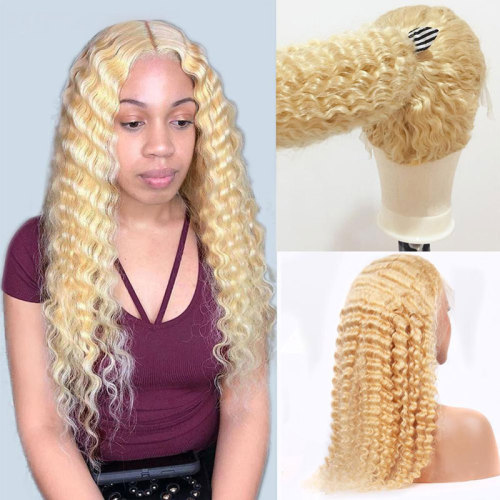 ReadyWig 613 Blonde Loose Deep Wave Human Hair Lace Front Wig - Customized