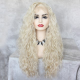 affordabale pre-plucked long blonde curly syntehtic wig for black women