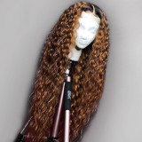 pre-plucked Colored Ombre Human Hair Wig with dark roots