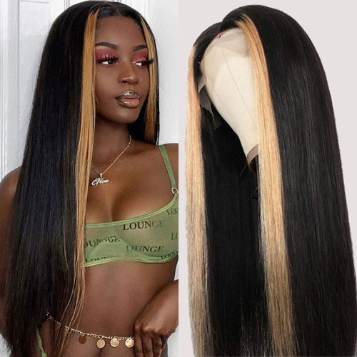 ReadyWig Black Straight Hightlight Human Hair Lace Front Wig - Customized