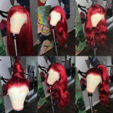 Vibrant Red Straight Human Hair Lace Front Wig