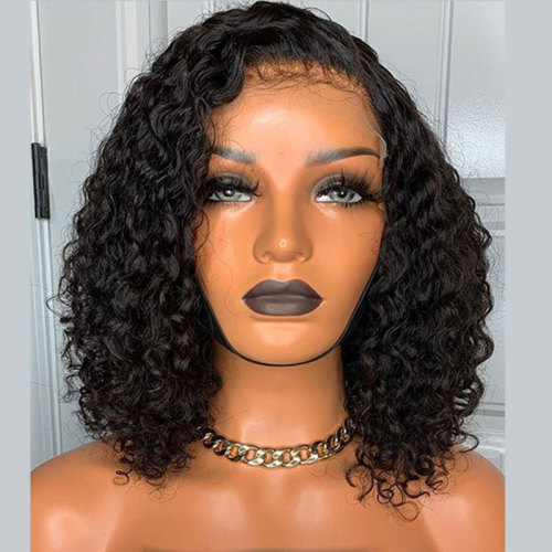 ReadyWig Black Curly Short Bob Human Hair Lace Front Wig - Customized