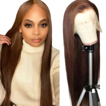 ReadyWig Brown Straight Human Hair Lace Front Wig - Customized