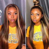 long straight deep part human hair lace wigs