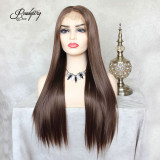 Pre Plucked 13x6 Lace Front Wig Dark Brown wavy Synthetic Hair with Baby Hair for Black Women