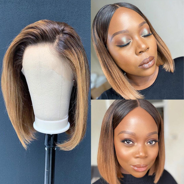 ReadyWig Ombre Color Short Straight Human Hair Lace Front Wig - Customized