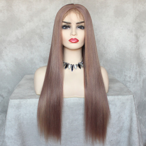 ReadyWig Mixed Brown Straight 13*6  Lace Front Synthetic Wig 24 Inches