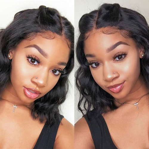 ReadyWig Black Wavy Short Bob Human Hair Lace Front Wig - Customized