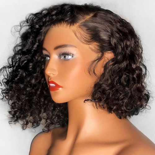 ReadyWig Black Short Curly Human Hair Lace Front Wigs - Customized