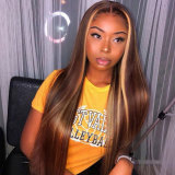 dark brown huaman hair lace wig with highlights