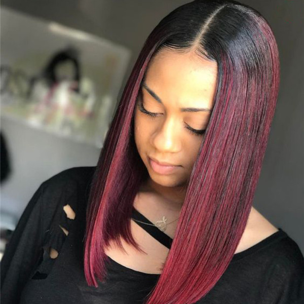 ReadyWig Ombre Red Straight Bob Human Hair Lace Front Wig - Customized
