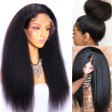 Black Kinky Straight Human Hair Lace Front Wig