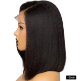 Pre Plucked kinky straight human remy hair with transparent lace 180% Density