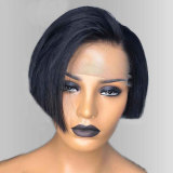 black pixie cut short bob human hair wig for women