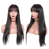Black Straight Human Hair Lace Front Wig with Bang
