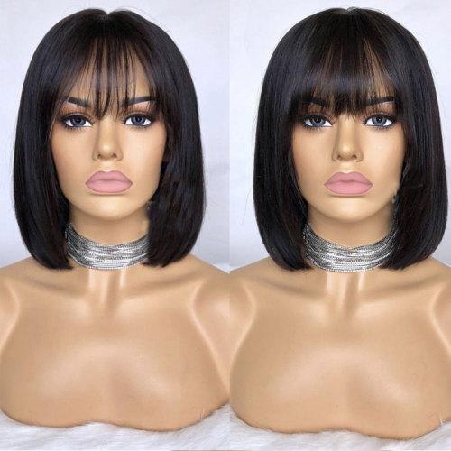 ReadyWig Black Short Bob Human Hair Lace Front Wig with Bang - Customized