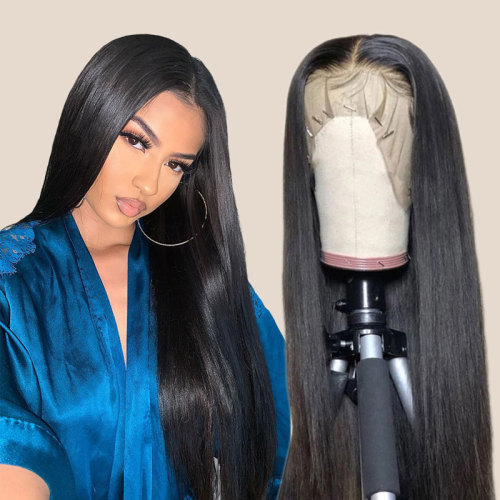 ReadyWig Black Long Straight Human Hair Lace Front Wig - Customized
