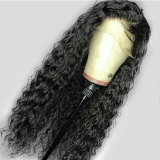 pre-plucked long wavy human hair lace front wig