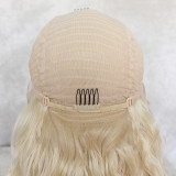 popular blonde synthetic lace front wig with soft fiber and great density