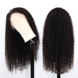 black Curly Full Lace Front Human Hair Wig with bleached knots