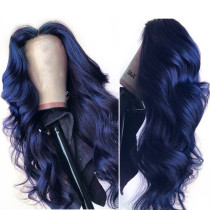 ReadyWig Dark Blue Body Wave Human Hair Lace Front Wig - Customized