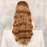 Brown wavy synthetic wig with baby hairs