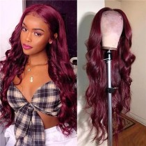 ReadyWig Burgundy Red Curly Human Hair Lace Front Wig- Customized