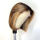 Ombre Color Short Straight Human Hair Lace Front Wig