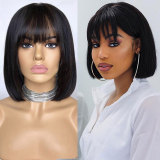 Bob Cut 13X6 Lace Front Short Human Hair Wigs With Bangs