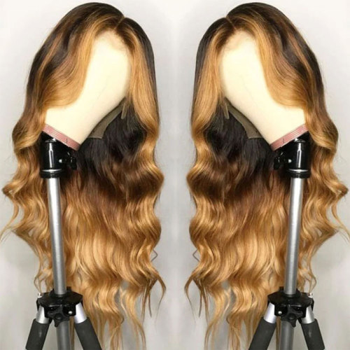 ReadyWig Honey Blonde Ombre Color Wavy Human Hair Lace Front Wig - Customized