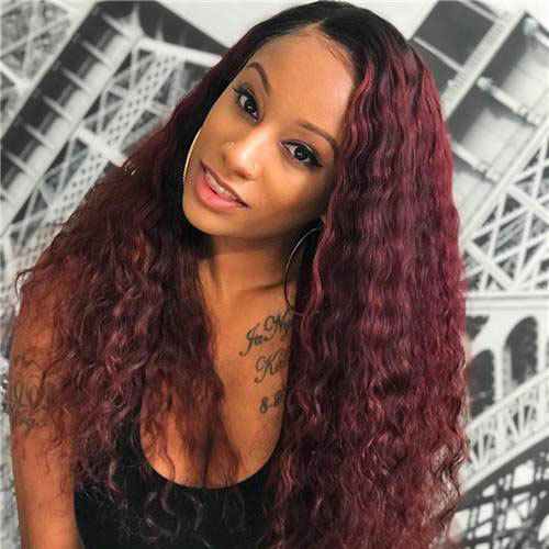 ReadyWig Burgundy Red Long Curly Human Hair Lace Front Wig  - Customized
