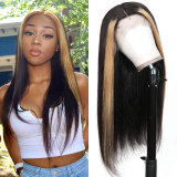Brazilian Straight Lace Frontal Highlight Wig with pre-plucked hairline