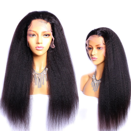 ReadyWig Black Kinky Straight Human Hair Lace Front Wig - Customized