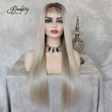 Ash Blonde Lace Front Wig Natural Looking Silky wavy Free Parting Heat Resistant Lace Glueless Synthetic Wig