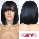 Fake Scalp Lace Frontal bob Wig With Bang 150% Density