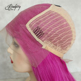 long straight pink lace wig with adjustable straps and combs