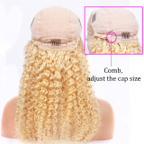 100% 613 blonde human remy hair with pre-plucked hairline and adjustable straps