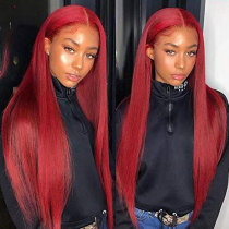 ReadyWig Vibrant Red Straight Human Hair Lace Front Wig - Customized