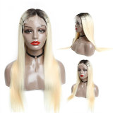 613 Blonde Dark Root Lace Front Wig Brazilian Straight hair 150% Density
