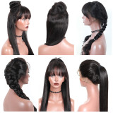 Fake Scalp Lace Frontal Wig With Bangs 150% Density