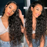 Black Water Wave Human Hair Lace Front Wig