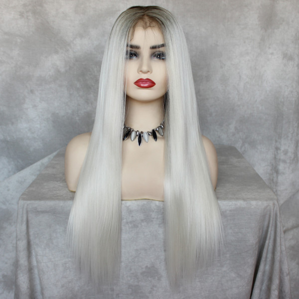 ReadyWig White-grey Straight Hair 13*6 Lace Front Synthetic Wig 24 Inches