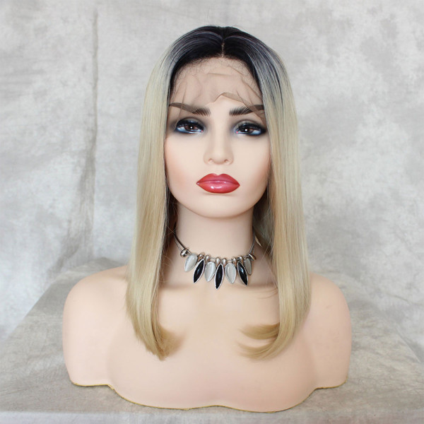 ReadyWig Ash Blonde Dark Roots Short Hair Synthetic Lace Front Wig 16 Inches