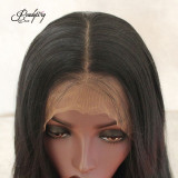 Black Lace Front Wig Natural Looking Silky Straight Free Parting Heat Resistant Lace Glueless Fiber Wig